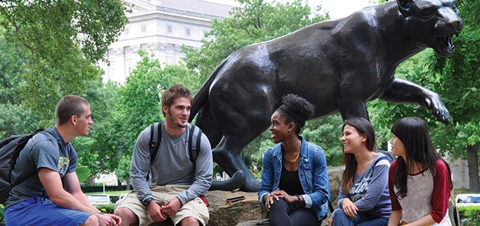 Pitt Panther with students sitting outside