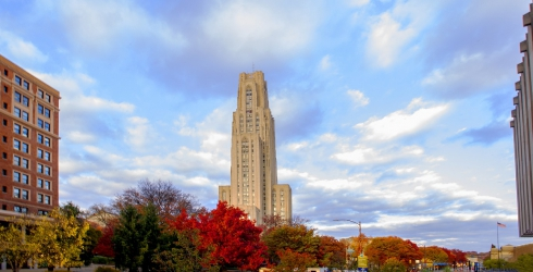 Cathedral of Learning in Fall