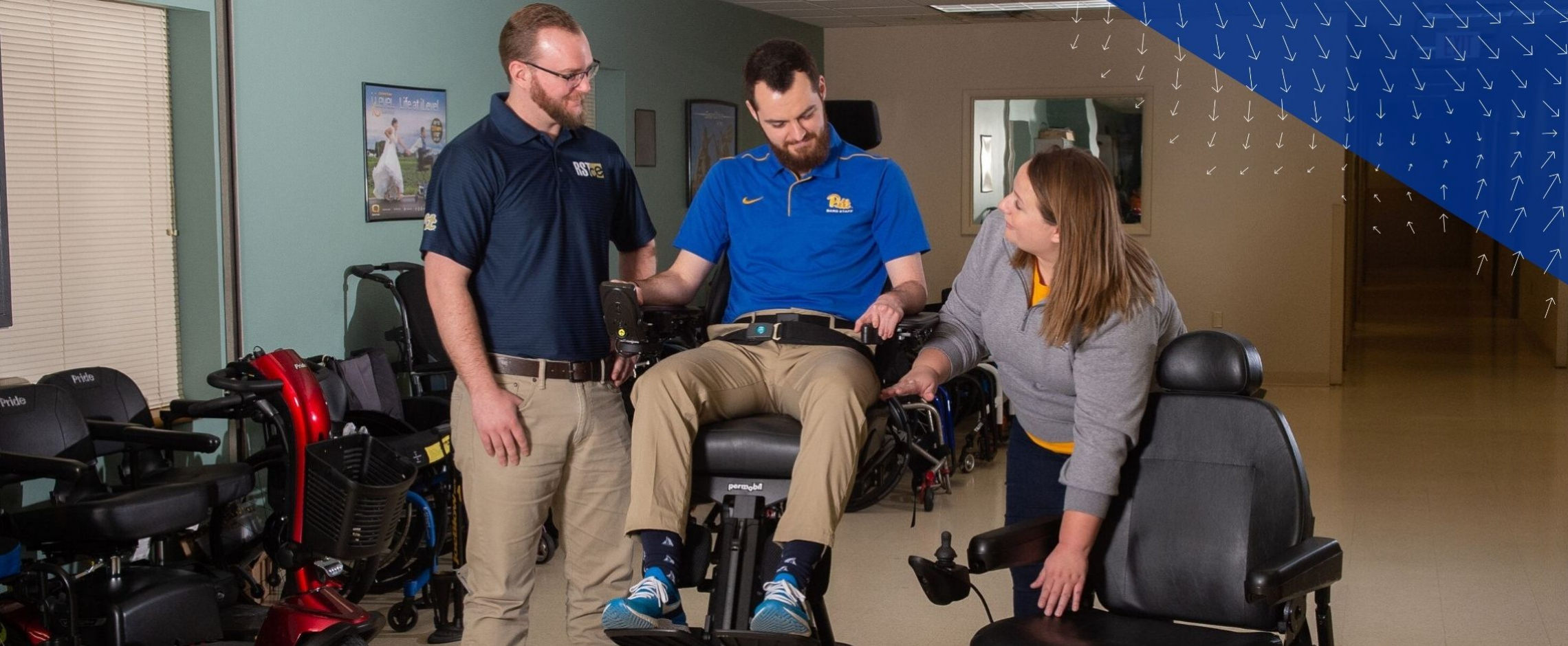 students testing a power wheelchair
