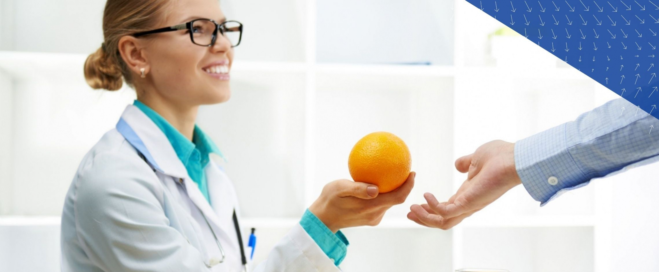 clinician holding orange