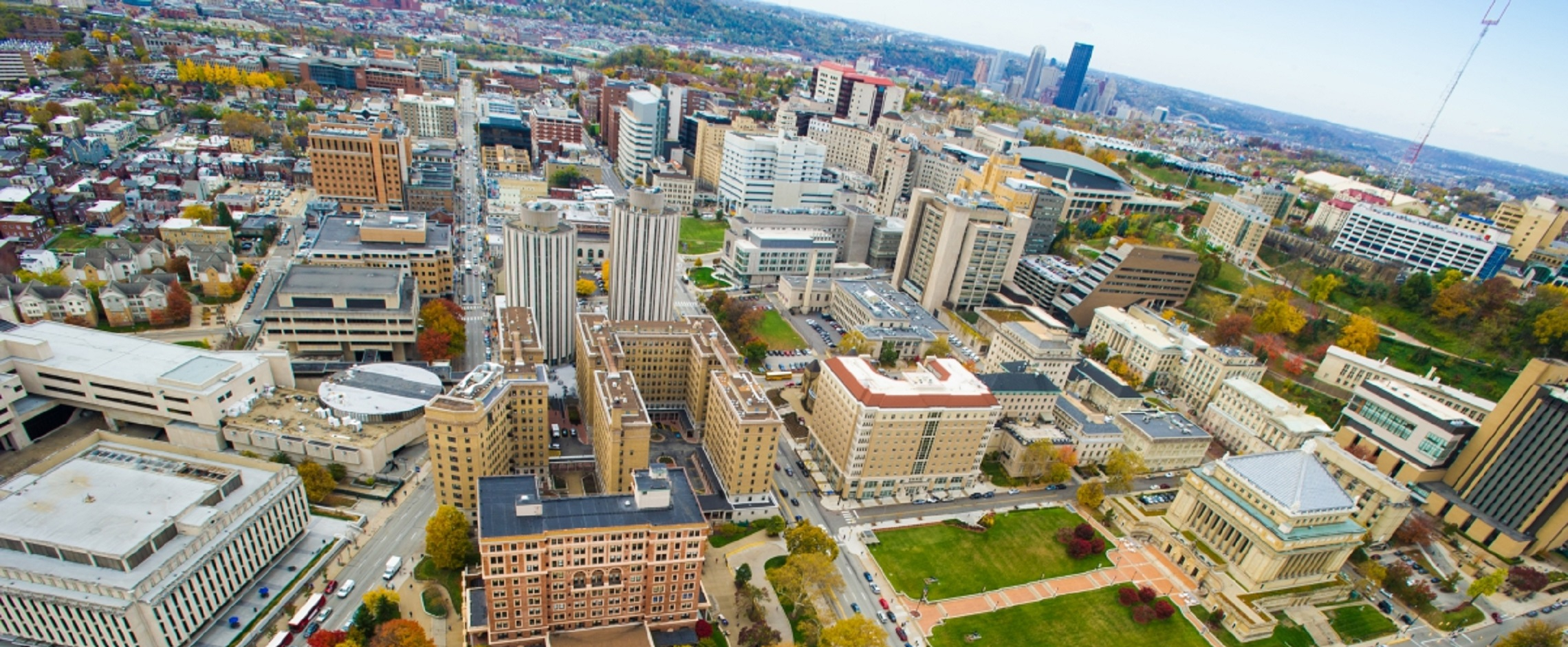 Aerial view of Pitt campus and city of Pittsburgh
