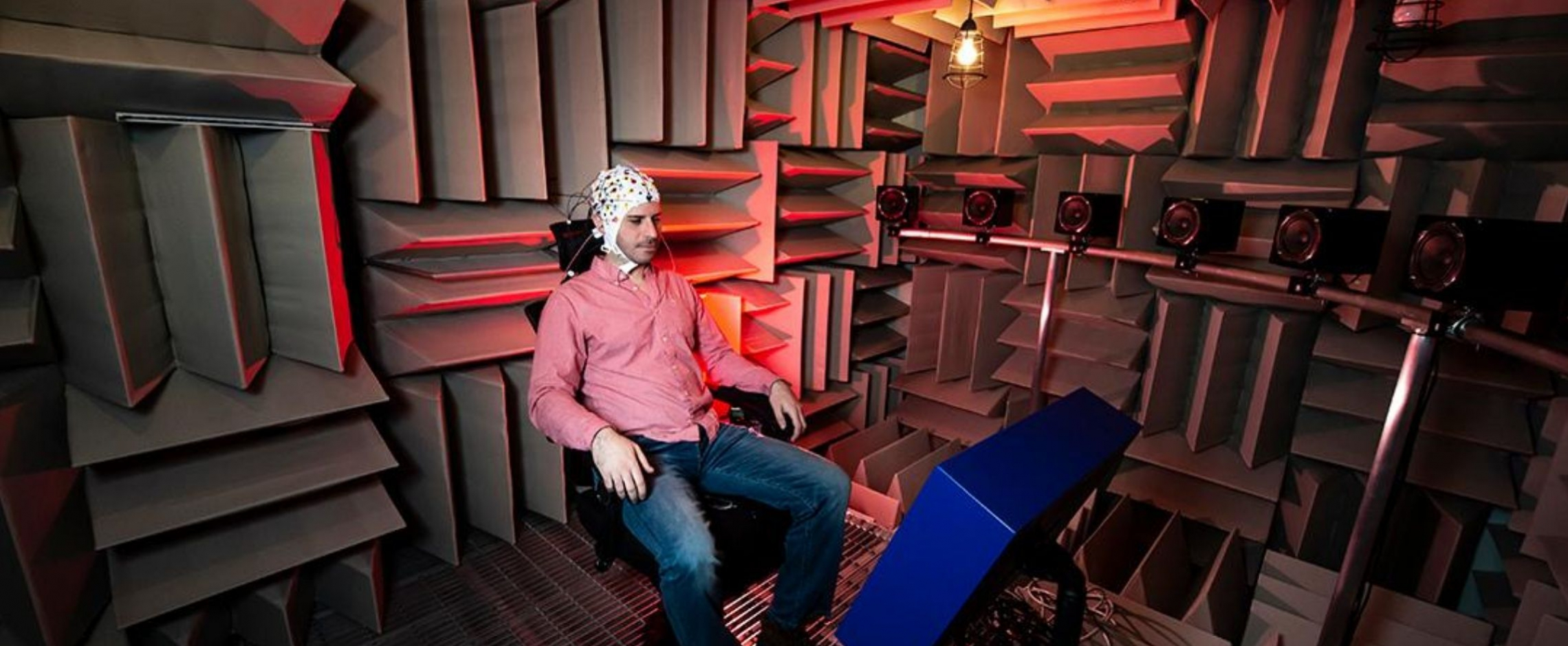 subject in anechoic chamber