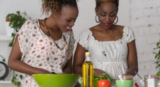 Women making salad