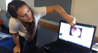 Student looking at Computer screen with photo of Inner Ear