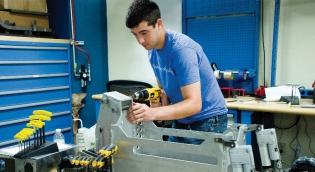Student working in Machine Shop