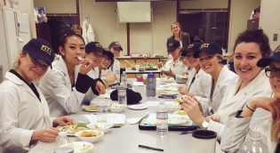 Students eating in Food Science Lab