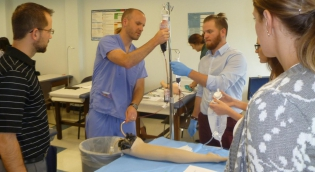 Students in phlebotomy lab
