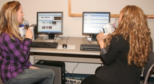 Student conducting voice testing