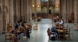 Students studying inside the Cathedral of Learning