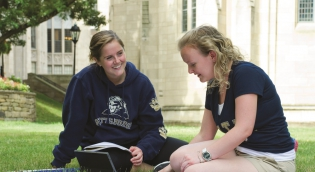 Students studying on campus lawn