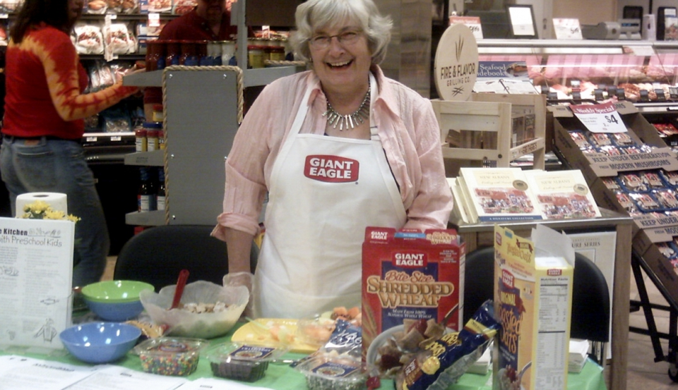 Judy Dodd at information table at Giant Eagle